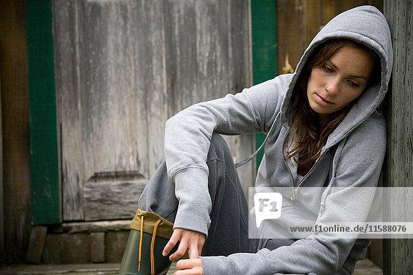 Woman in rural environment