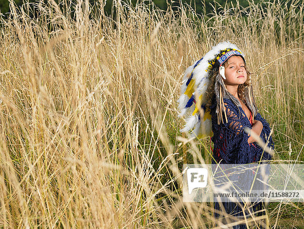 Girl dressed up as north american indian