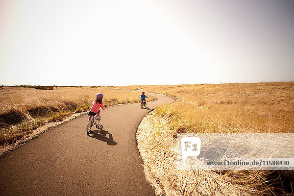 Two children cycling along lane