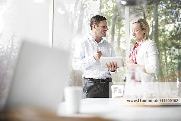 Geschäftsmann und Frau diskutieren im Amt