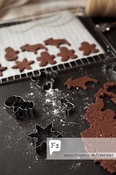 Pastry cutters and gingerbread dough