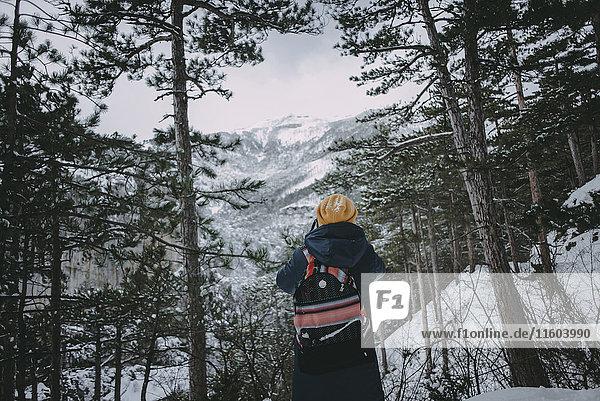 Caucasian woman admiring snowy forest