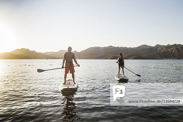 Couple standing on paddleboards in rover