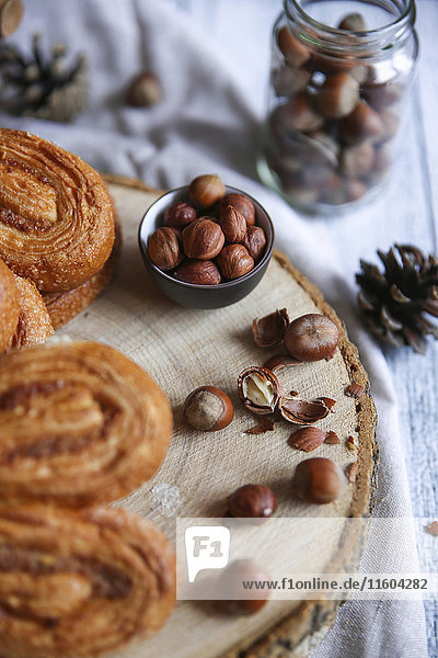 Pastry buns with nuts
