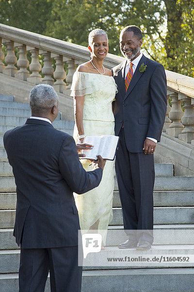 Wedding ceremony on stone staircase