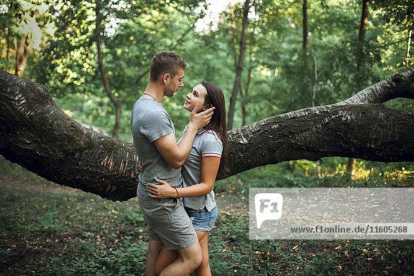 Caucasian couple hugging near tree branch