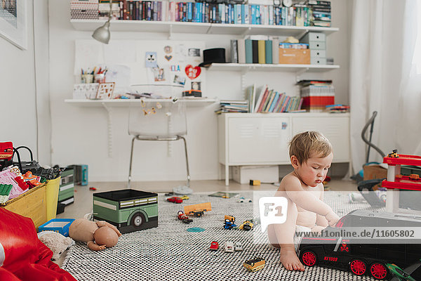 Boy playing in room