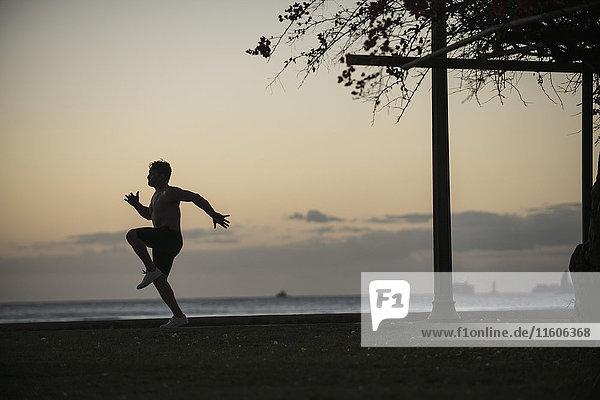 Volle Länge des Mannes beim Joggen im Park am Meer bei Sonnenuntergang Volle Länge des Mannes beim Joggen im Park am Meer bei Sonnenuntergang