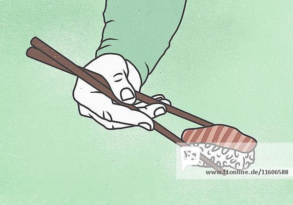 Illustration eines Mannes  der Sushi mit Stäbchen vor farbigem Hintergrund hält.