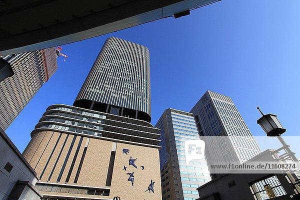 Japan  Osaka  skyline  skyscrapers .