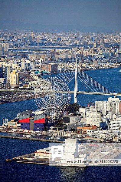 Japan,  Osaka,  Bay Area,  aerial view,  Tempozan Ferris Wheel,  Tempozan Harbor Village,  Tempozan Ohashi Bridge, .