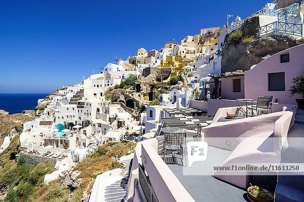 Cliff hugging village of Oia  Santorini  Cyclades  Greece.