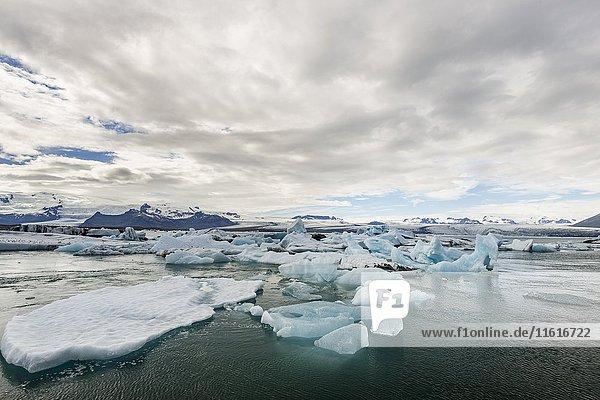 Schwimmende Eisberge in der Gletscherlagune Jökulsarlon  hinten Gletscherzunge des Vatnajökull  Island  Europa