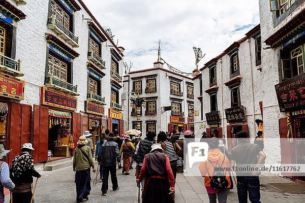 Lhasa  Tibet  China - The view in Barkhor Street in the daytime.