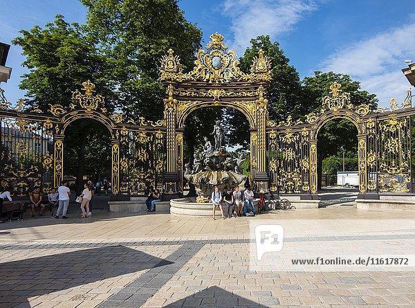 Amphitrite-Brunnen am Place Stanislas  Nancy  Meurthe-et-Moselle  Lothringen  Frankreich  Europa