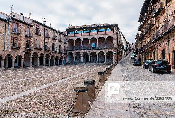 Town Hall and Main Square  Sigüenza  Guadalajara province  Castile La Mancha  Spain. Historical Heritage Site.