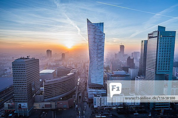 Warsaw  Poland. Aerial view with Golden Terraces shopping mall  Zlota 44 skyscraper  Warsaw Towers and InterContinental Hotel.