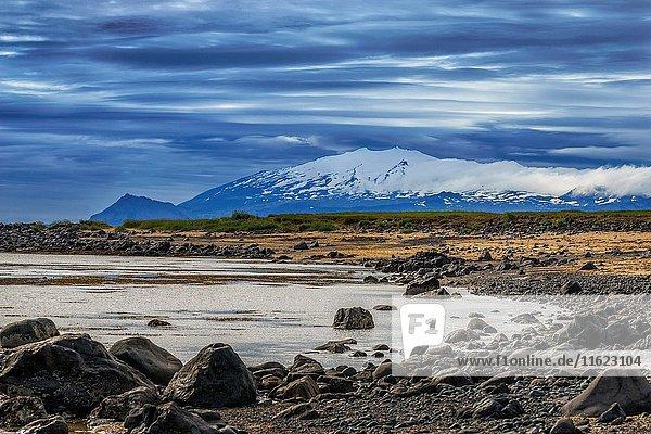 Coastline-The Snaefellsjokull National Park  Snaefellsjokull Glacier  Snaefellsnes Peninsula  Iceland.
