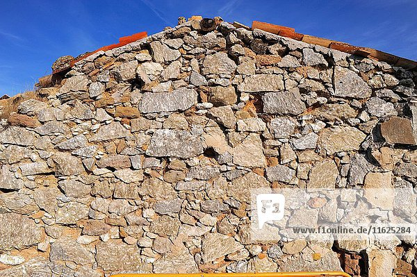 House built with mineral gypsum blocks. Odena  Barcelona  Catalonia  Spain.