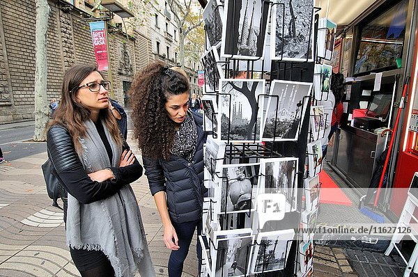 Newspaper stand with Barcelona black and white postcards. La Rambla  Barcelona  Catalonia  Spain