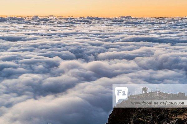 Sunrise seen from Pico do Arieiro  Madeira  Portugal.