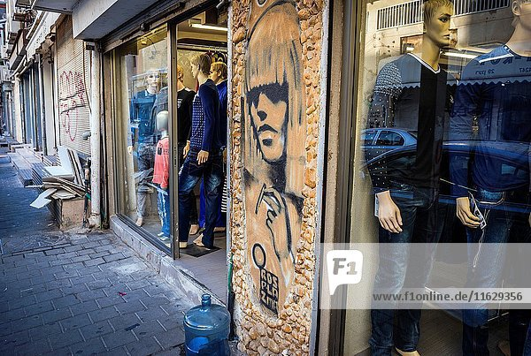 Graffiti by Ros Plazma artist in Florentin neighborhood  Tel Aviv city  Israel.