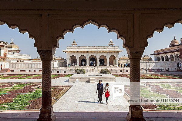 Visitors  Anguri Bagh (Grape Garden)  in Agra Fort  UNESCO World Heritage site  Agra  India.