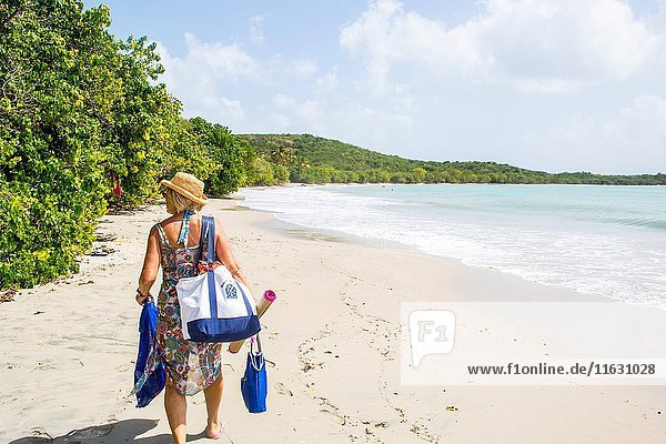 Older retired caucaisian couple going to the beach in the tropical island of Martinique.