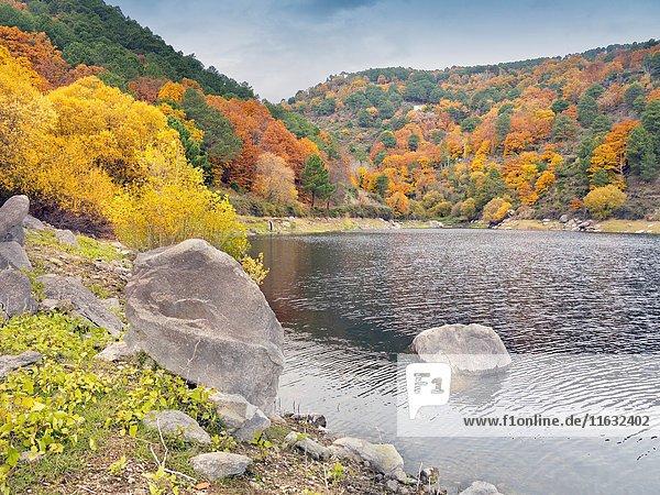 Pajarero reservoir in the Sierra de Gredos. Santa Maria de Tietar. Avila. Castilla Leon. Spain. Europe.