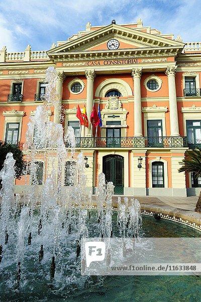 Facade of the town hall of Murcia  Plaza La Glorieta  Murcia  Spain  Europe