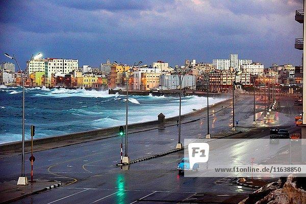 The Malecon at dusk  Havana  Cuba.