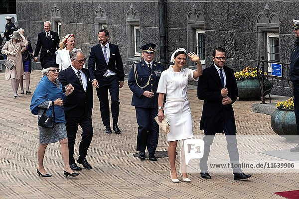 Swedish Princess Madeleine and husband Christopher O'Neill arrive to Copenhagen City Hall  where Queen Margretheâ.s seventy-fifth birthday is celebrated with a lunch and entertainment. Copenhagen  Denmark  April16th  2015.