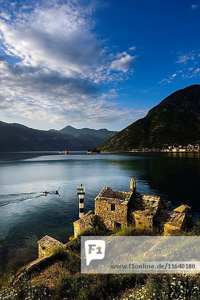 Church of Our Lady of Angels  Kotor bay in Montenegro Perast old town in background