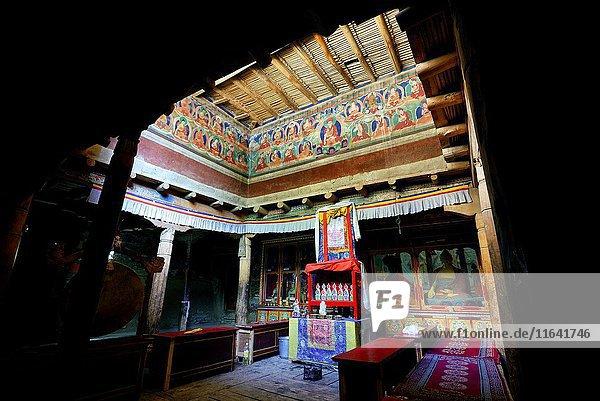 India  Jammu and Kashmir State  Himalaya  Ladakh  Indus valley  interior of the Buddhist monastery of Lamayuru (Yungdrung)