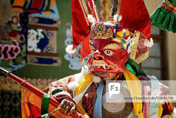 India  Jammu and Kashmir State  Himalaya  Ladakh  Indus valley  festival at the Buddhist monastery of Phyang  sacred mask dances performed by monks