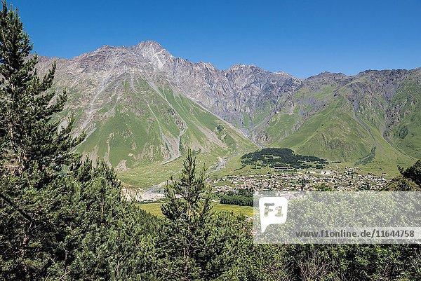 View on Stepantsminda (former Kazbegi) town in Mtskheta-Mtianeti region  Caucasus Mountains  Georgia.