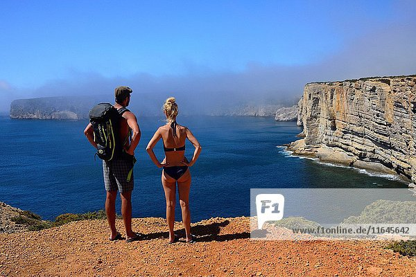 Young couple admiring beauty of Atlantic Ocean shore  monumental cliffs near Cape St. Vincent - Cabo de São Vicente  Costa Vicentina - Vicentine Coast  Sagres  Vila do Bispo  Algarve  Portugal  Europe