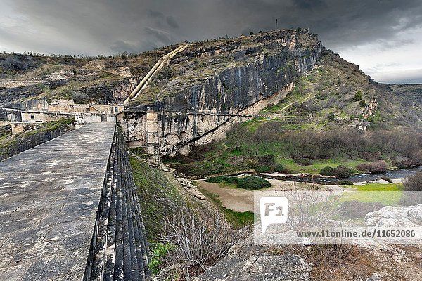 Dam of Ponton de la Oliva reservoir in Patones. Madrid. Spain. Europe.