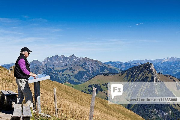 Man checks out the view of the Alps on the mountain of Rochers-de-Naye by Montreux  Switzerland. The mountain of Rochers-de-Naye stands a towering 2042m above sea level and provides striking views across the Alps mountain range and Lake Geneva.