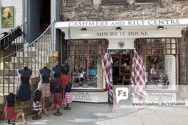 Moubray House Cashmere and Kilt Centre on Royal Mile Street  Edinburgh  Scotland.
