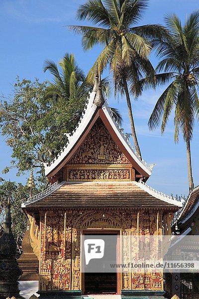 Laos  Luang Prabang  Wat Xieng Thong  Sanctuary  Red Chapel  buddhist temple .