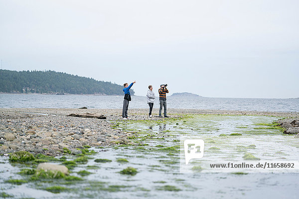 Vater und Söhne fotografieren am Strand  Pacific Rim National Park  Vancouver Island  Kanada