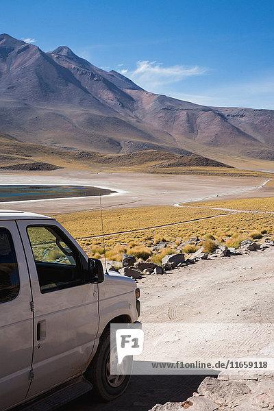Vehicle by lake miscanti  San Pedro de Atacama  Chile