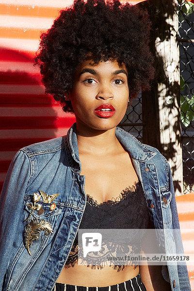 Stadtporträt einer jungen weiblichen Mode-Bloggerin mit Afro-Haaren  New York  USA