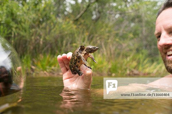 Mann im Wasser mit lächelnder Schlammschildkröte  Turkey Creek  Niceville  Florida  USA