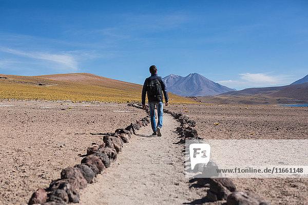Man walking along path in sand in desert  San Pedro de Atacama  Chile