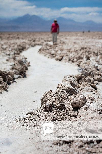 Person walking along path in sand in desert  San Pedro de Atacama  Chile
