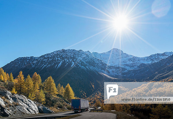 Truck on mountain road in Swiss Alps  Simply Pass  Valais  Switzerland