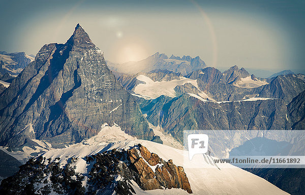 Climbers on snow covered mountain peak  Matterhorn  Zermatt  Switzerland