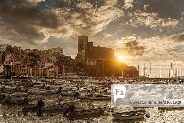 View of harbour yachts and castle at sunset  Lerici  Liguria  Italy